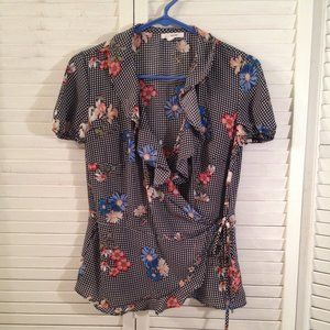 Maurices S Black Check Floral Silky Wrap Top